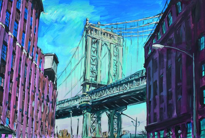 "A Painting By Bob Dylan: ""Manhattan Bridge, Downtown New York."""