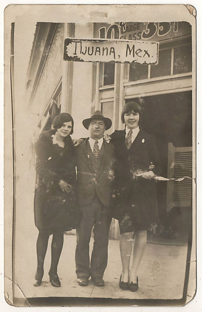 Greetings from Tijuana: Max Rosenstock with a pair of flappers, circa 1927.