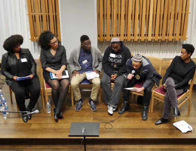 Black and Jewish: Yavilah McCoy and April Baskin (far left) listen to their co-panelists at the opening plenary.