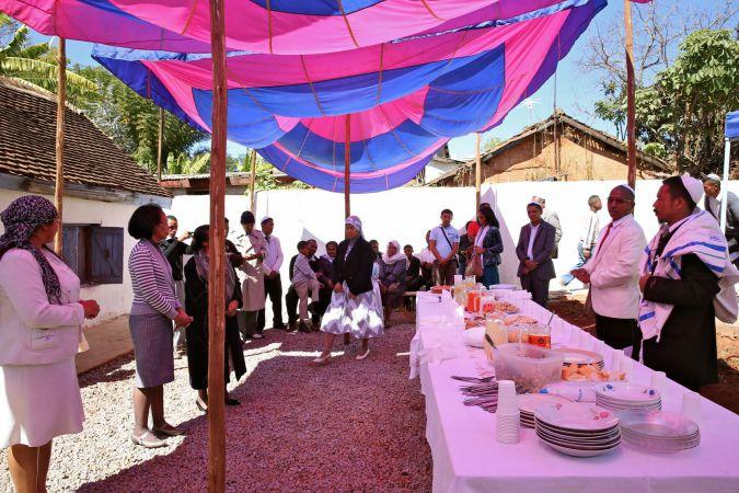 Kiddush, Shacharit (morning) service, Beit HaTefilah Israel. Antananarivo, Madagascar. August 2014.