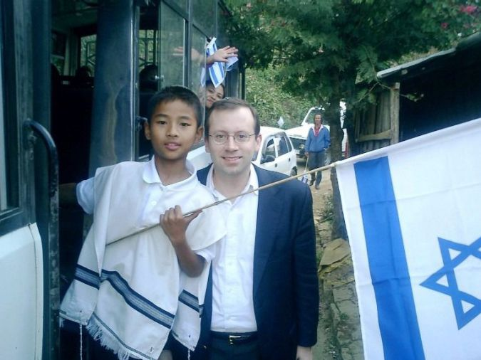 Found Tribe: Michael Freund in India with a member of the Bnei Menashe.