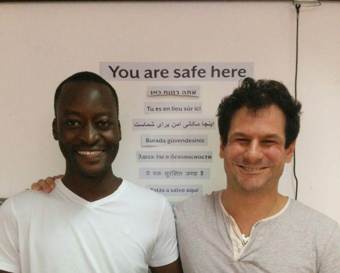 Mutasim Ali and his lawyer, Assaf Weitzen