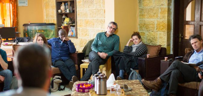 From left: Authors Helon Habila, Michael Chabon, Ayelet Waldman and Dave Eggers in the Palestinian village of Nabi Saleh.