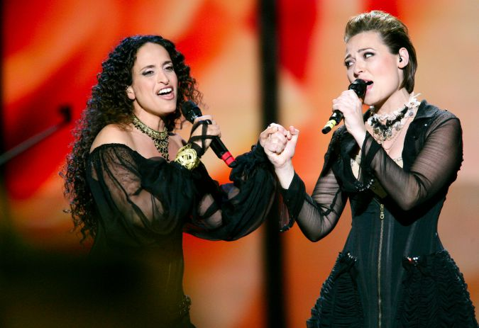 Singers Achinoam Nini and Mira Awad, representing Israel, perform during the Eurovision Song Contest 2009 Semi Finals.