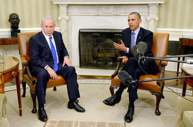 U.S President Barack Obama meets with Israeli Prime Minister Benjamin Netanyahu in the Oval Office in 2015.