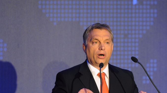 Hungarian Prime Minister Viktor Orban delivers a speech during an opening ceremony of the 14th Plenary Assembly of the World Jewish Congress (WJC) in Budapest on May 5, 2013.