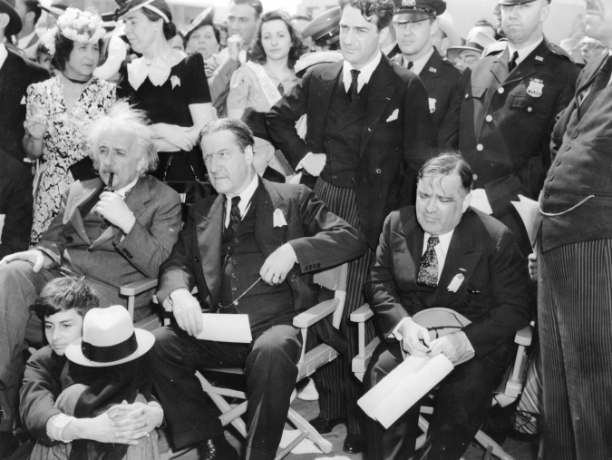 VIPs: From right, Einstein, Rabbi Stephen Wise, and New York Mayor Fiorello La Guardia attend dedication of Jewish Palestine Pavilion at New York's World's Fair, 1939.