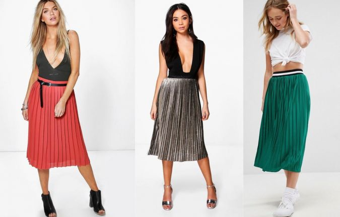 From left to right: Boohoo Nieve Chiffon Pleated Midi Skirt, $30, boohoo.com; Boohoo Ava Metallic Pleated Midi Skirt, $36, boohoo.com; ASOS Perforated Pleated Midi Skirt with Sports Tipped Waistband, $45, Asos.com