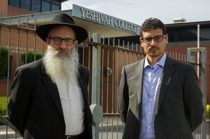 Shunned: Zephaniah (left) and Manny Waks outside the Yeshivah Centre in Melbourne.