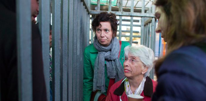 Eva Menasse (left) and Rachel Kushner (right) at the Qalandia checkpoint near Ramallah.