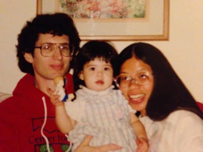 Rachel Gross as a child with her parents.