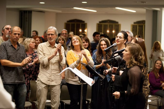 'Motown Shabbat' in Los Angeles: Beit T'Shuvah congregants clap and sing during one of their themed services.