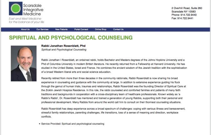 A screenshot of Rabbi Jonathan Rosenblatt's biography on the Scarsdale Integrative Medicine website