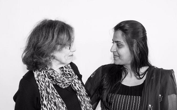 """""""I am so thankful for your openness,"""" said Rakhshanda Mirza of ICNYU (right).  """"This is the best place where I could be for a couple of hours a week, where people are getting hope,"""" said Judith Chusid of CBST (left)."""