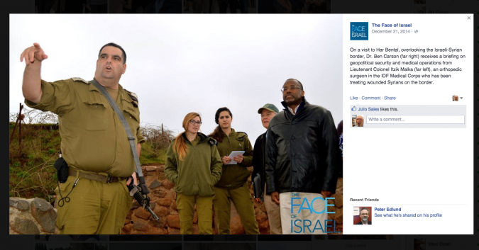 First Look: GOP presidential candidate Ben Carson tours the Golan in March during his first visit to Israel, sponsored by a for-profit group.