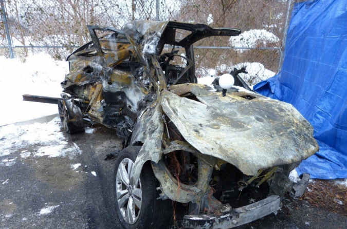 This is the mangled Mercedes SUV that Ellen Brody was driving.