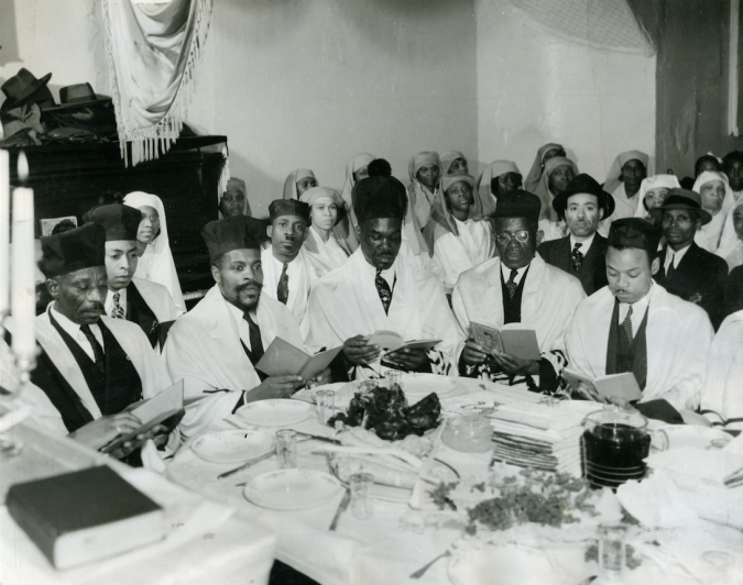 Pioneers: Rabbi Matthew, second from left at table, leads a Passover seder in the 1940s.