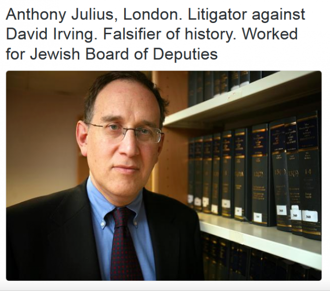 British lawyer Anthony Julius is on the list.