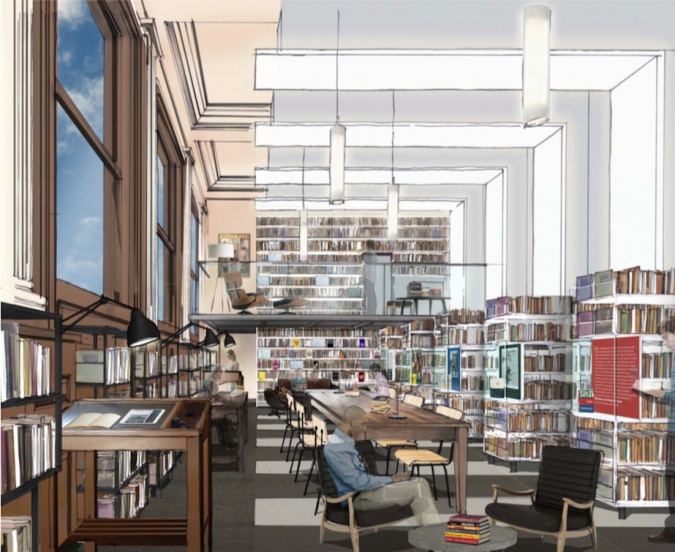 A rendering by architect Henry Myerberg of the room that will house Roth's collection at Newark Public Library.