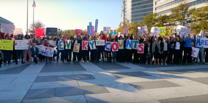 The pro Hillary Clinton flashmob was held just opposite to the new Trump Hotel in Washington, D.C.