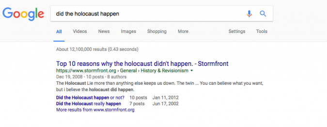 Neo-Nazi Site Is Top Hit for 'Did the Holocaust Happen' Google ...