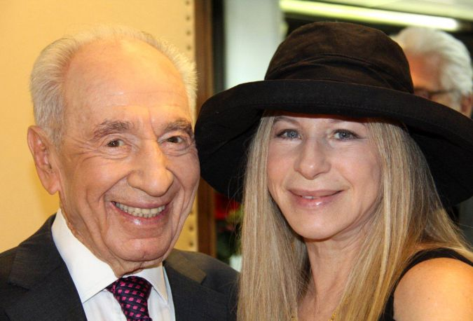 June, 2013: Shimon Peres and Barbra Streisand attend a Make-A-Wish Foundation event in Jerusalem.