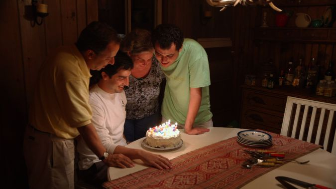 Birthday Celebration at the Suskinds: From left, Ron, Walter, Cornelia and Owen Suskind.