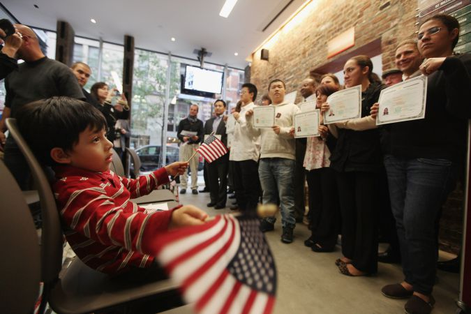 The Tenement Museum hosts a naturalization ceremony on September 20, 2011.
