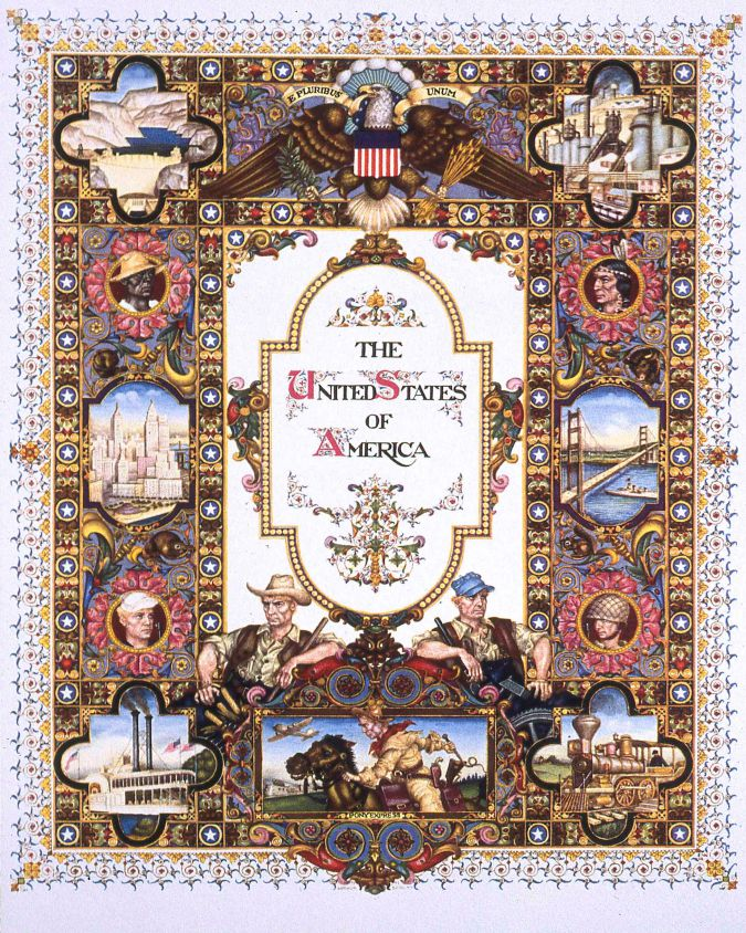 "The United States of America (from ""United Nations"") New York, 1945, watercolor and gouache, pen and ink and pencil on board. Courtesy Taube Family Arthur Szyk Collection, The Magnes Collection of Jewish Art and Life, University of California, Berkeley."