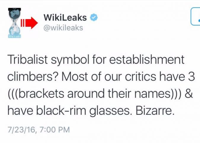 WikiLeaks tweeted an anti-Semitic remark following online criticism of its publication of tens of thousands of hacked DNC emails.