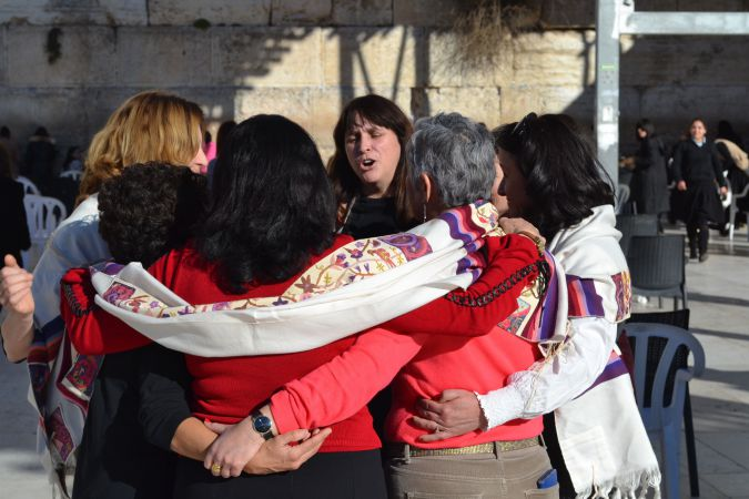 Susan Silverman and other members of Women of the Wall celebrate Kotel deal Sunday.