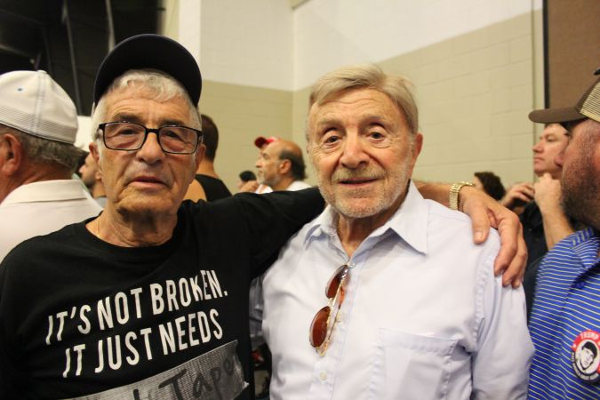 Zeev Libskin (left) and Murray Roter at Donald Trump's rally in West Palm Beach October 13