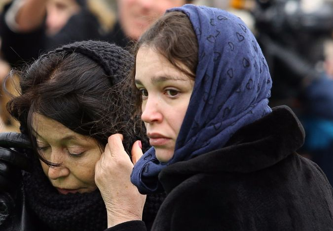 Zhanna Nemtsova pictured at the funeral of her father, opposition leader Boris Nemtsov, after his murder in 2015.