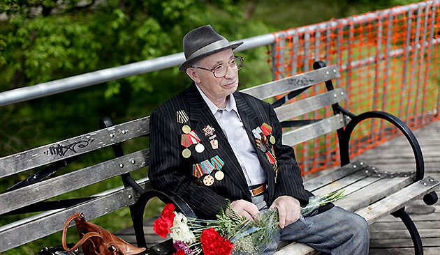 Among the Last: Soviet World War II veteran Isaak Iosilevich, 86, observed Victory Day, a Russian holiday honoring the Second World War, with other veterans in Brighton Beach.