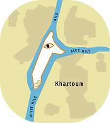 How the City Got Its Name: A plan of Khartoum, with graphics added for clarity.