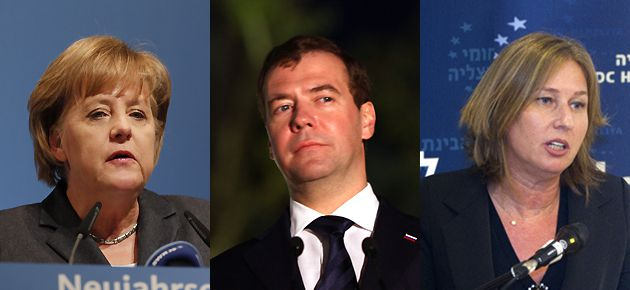 Travel Limited: The work slowdown has had many repercussions, forcing leaders Angela Merkel (left) of Russia and Dmitry Medvedev (center) of Germany to cancel visits to Israel. Tzipi Livni (right), head of the opposition Kadima party, also had to call off a trip to South Africa.