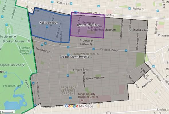 Boundaries: The Greater Crown Heights eruv, in gray, is the area contained by the controversial eruv.