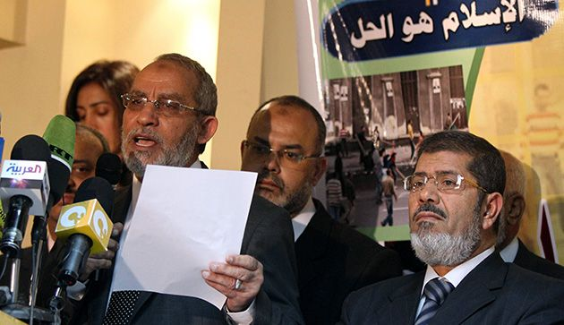 Loyal Opposition: Mohammed Badie (left), head of the Muslim Brotherhood, said November parliamentary elections were rigged.