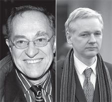 Defense Counsel: Alan Dershowitz (left) will join in the legal defense of WikiLeaks, the website led by Julian Assange (right).