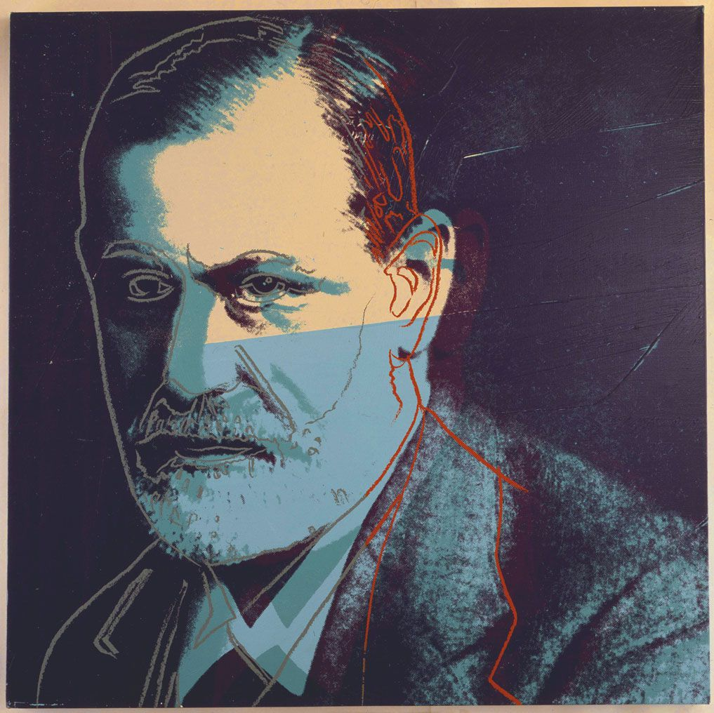 Andy Warhol (American, 1928?1987), Sigmund Freud from Ten Portraits of Jews of the Twentieth Century, 1980, synthetic polymer paint and silkscreen ink on canvas. Private collection. © The Andy Warhol Foundation for the Visual Arts, Inc./Artists Rights Society, New York/Courtesy Ronald Feldman Fine Arts, New York.