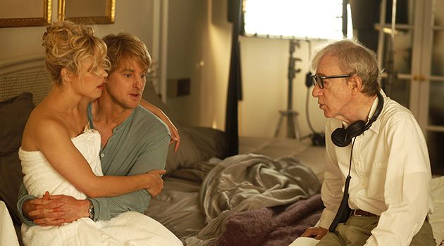 Bedroom Success?: Rachel McAdams and Owen Wilson discuss strategies with Woody Allen.