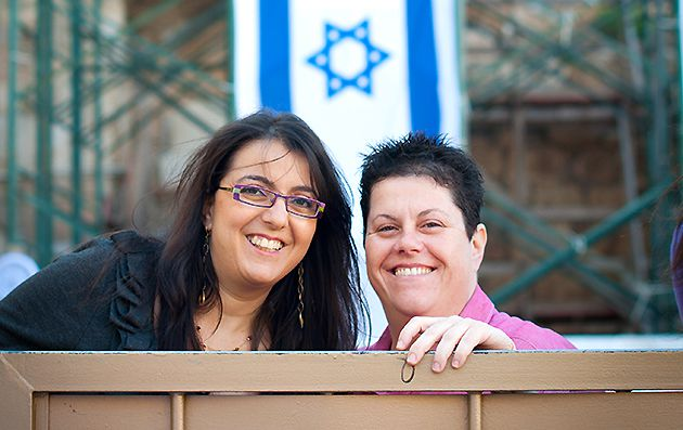 Acceptance: Above, Zehorit Sorek (left) and Limor Sorek, Tel Aviv?s first gay parents of an Orthodox bar mitzvah boy.