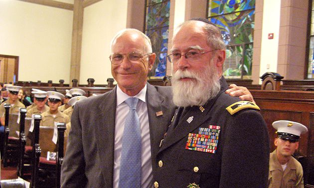 Tribute: Ret. Gen. Robert Magnus (left) with Col. Jacob Goldstein, senior Jewish chaplain of the U.S. Army Reserve.