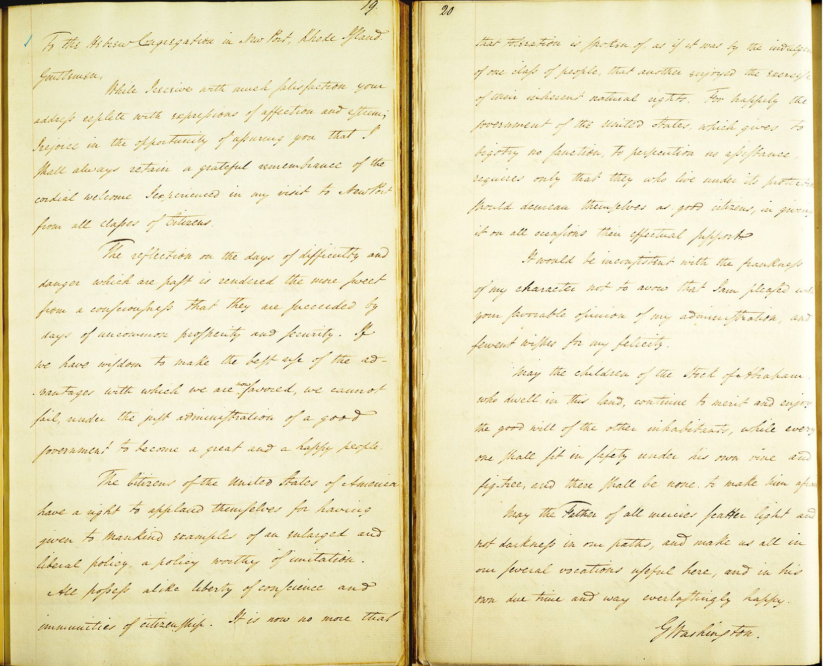 Keepsake: A copy of Washington?s letter to the Jews of Newport, found in the letter book of the President?s secretary. Click to enlarge image.
