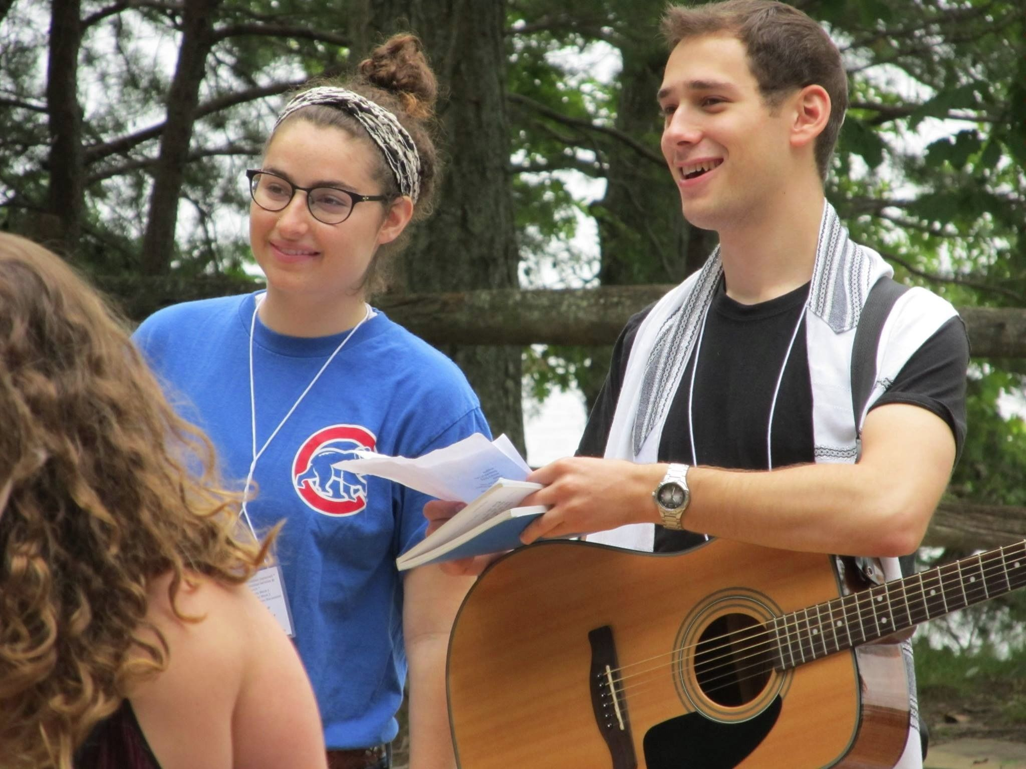 Danny Dubin leads services at an American University Hillel retreat.