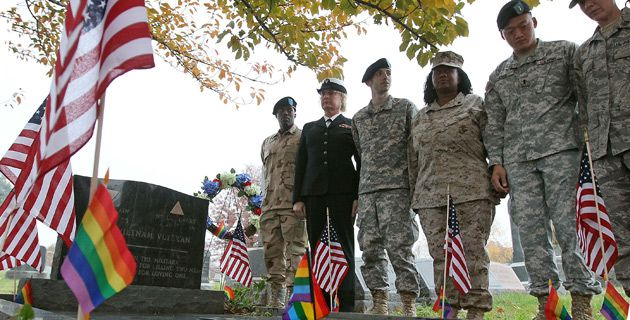 Salute: Gay former service members participate in a November 15 vigil at the Washington grave of decorated Vietnam veteran Leonard Matlovich, who was discharged by the Air Force for being gay.