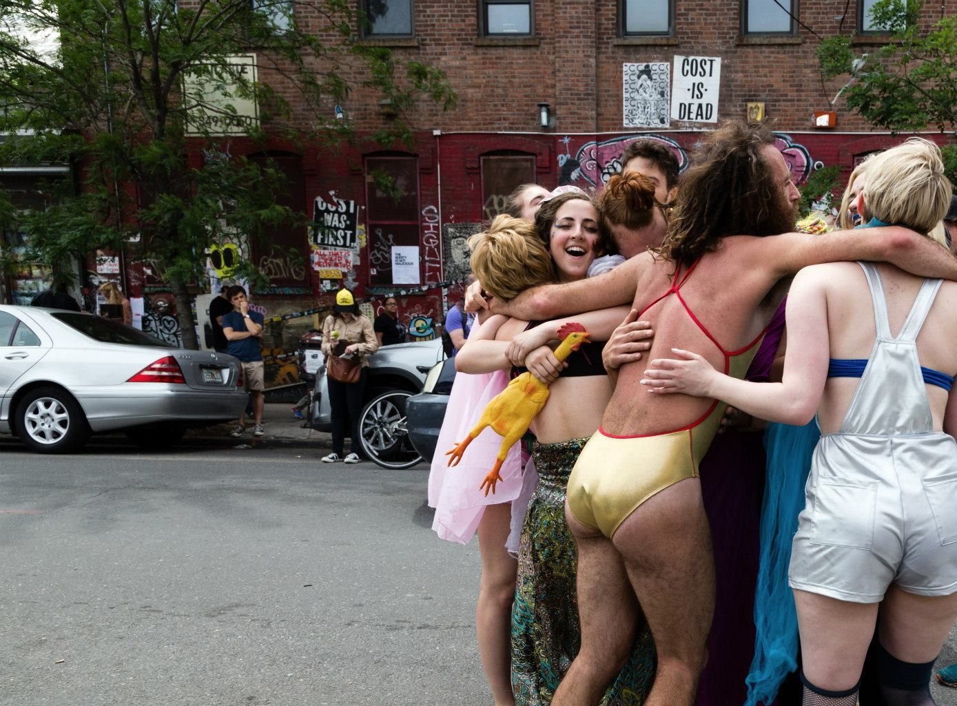 Stephanie Guedalia and friends in a performance piece in Bushwick last year.