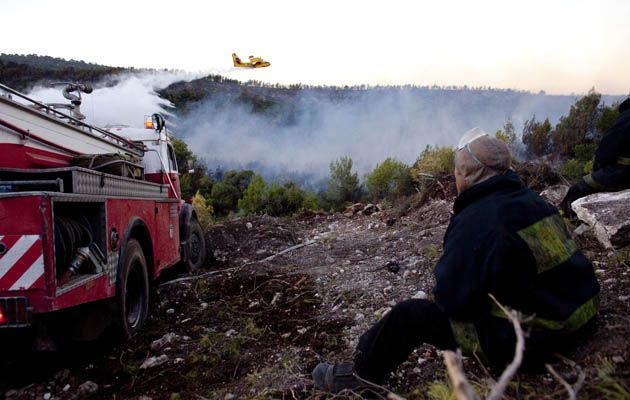 As Israel Burns: A firefighter watches as a firefighting plane flies over the outskirts of Haifa.
