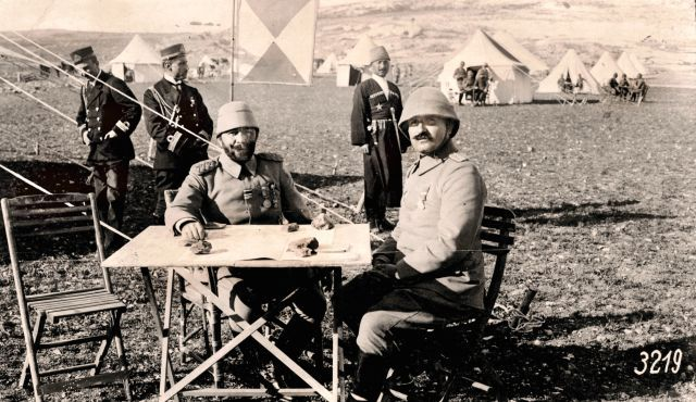 Jamal Pasha (seated, center) in southern Palestine, 1915. Systematically executed those who rose up against him.