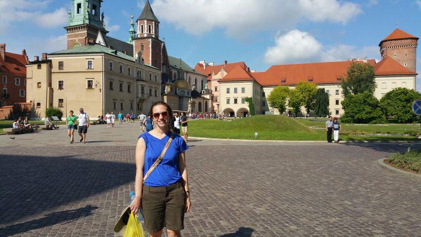 Karen's daughter near Wawel Palace in Krakow.